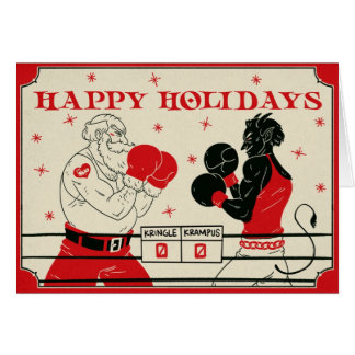 Christmas Krampus Card - Fight