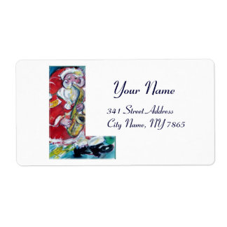 CHRISTMAS L LETTER /SANTA AND SAX MONOGRAM SHIPPING LABEL