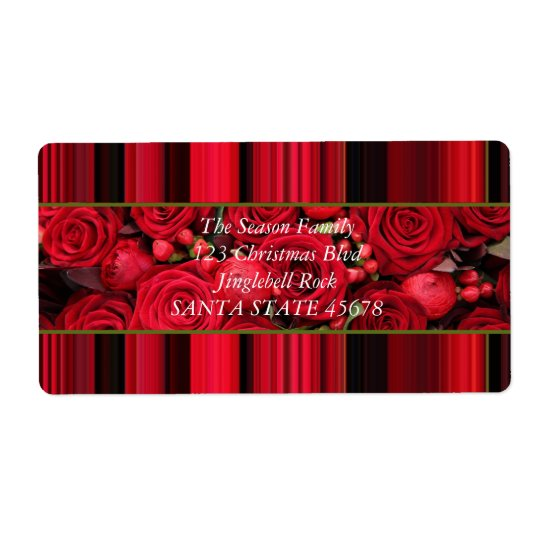 Christmas label red roses shipping label