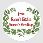 Christmas  Label  Season's Greetings baking, food Round Stickers