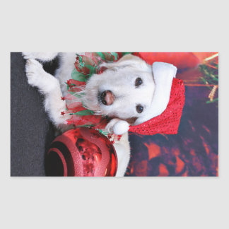 Christmas - LabraDoodle - Izzy Rectangle Stickers