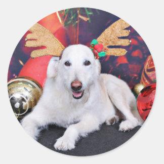 Christmas - LabraDoodle - Izzy Round Stickers