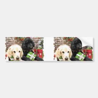 Christmas - LabraDoodle Miller - Golden Retriever Bumper Sticker