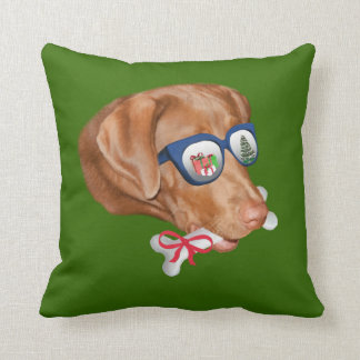 Christmas, Labrador Retriever Dog Throw Pillow