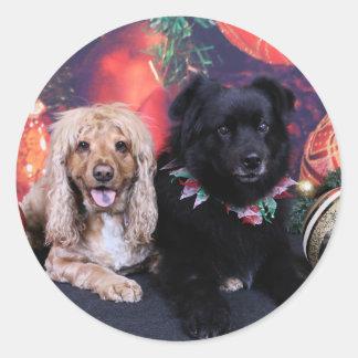 Christmas - Labrador X Cheyanne Cocker X Sundance Round Stickers