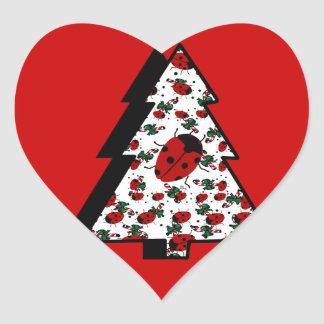 CHRISTMAS LADYBUGS HEART STICKER
