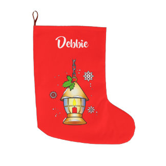 Christmas Lantern in the Snow Large Christmas Stocking