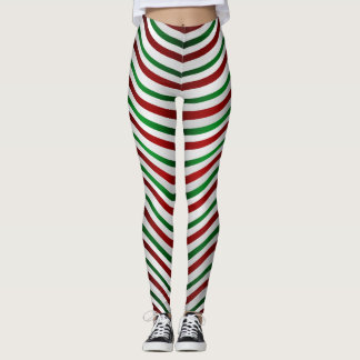Christmas Leggings Cute Candy Cane Stretchy Pants