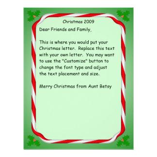 Christmas letter Candy Cane Border Letterhead