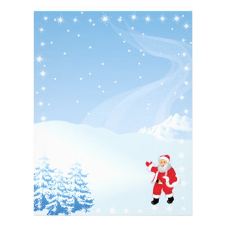 Christmas Letter Paper - Santa Claus Waving Custom Letterhead