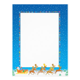 Christmas Letter Paper - Santa in Sleigh Design Customized Letterhead