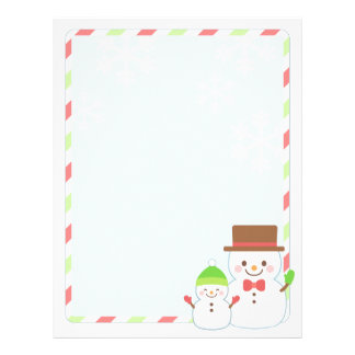 Christmas Letter Paper - Smiling Snowman Customized Letterhead