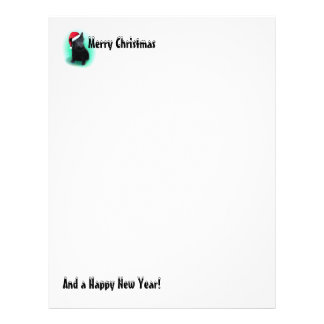 Christmas Letter Scottie Dog with Santa Hat Letterhead