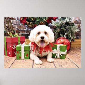Christmas - LhasaPoo - Marley Print