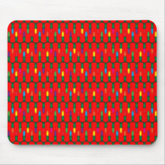 Christmas Light Pattern Red Mouse Pad