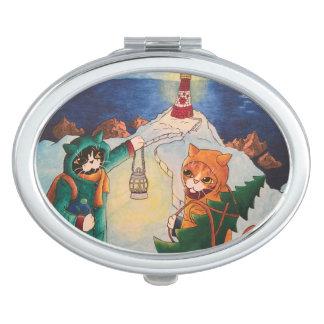 Christmas Lighthouse at Night Cats Makeup Mirror