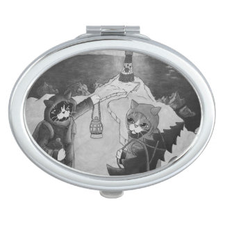 Christmas Lighthouse at Night Cats Travel Mirror