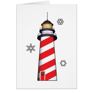 Christmas Lighthouse with Stripes and Snowflakes Card