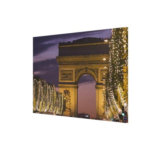 Christmas lights, Champs Elysees, Arc de Stretched Canvas Prints
