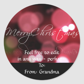Christmas Lights in Red Classic Round Sticker