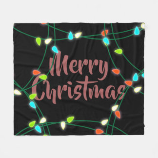 Christmas Lights Merry Christmas Fleece Blanket