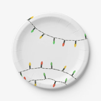 Christmas Lights Paper Plate