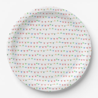 Christmas lights party ware, holiday party decor paper plate