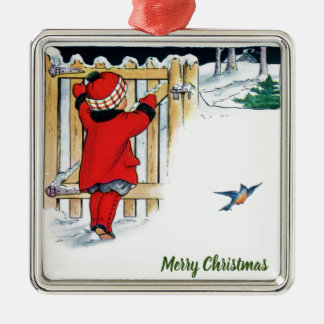 Christmas - Little Girl in Red Metal Ornament