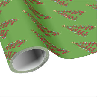 Christmas Lobster tree Nautical  gift wrap green