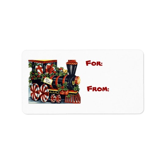 Christmas Locomotive Gift Tag Label