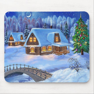 Christmas Log House in Winter Mouse Pad