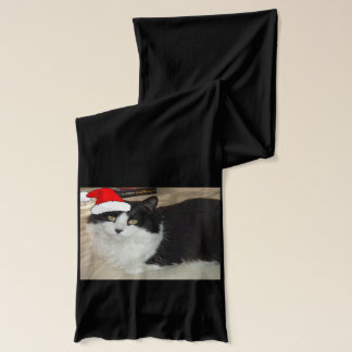 Christmas Long-haired Black and White Cat Scarf
