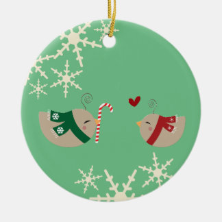 Christmas Love Birds Round Ceramic Ornament