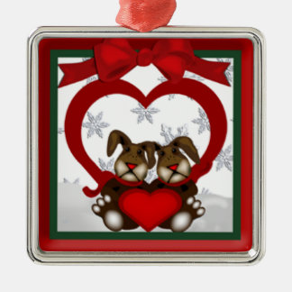 Christmas Love Bunnies Premium Ornament