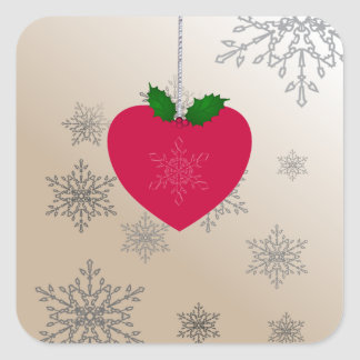 Christmas Love, Heart ornament with snowflakes Square Sticker