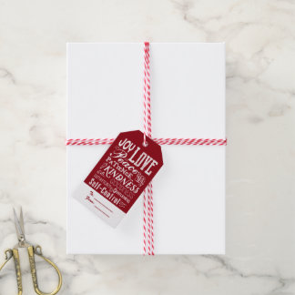 Christmas Love Joy Fruit of the Spirit Typography Gift Tags