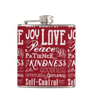 Christmas Love Joy Fruit of the Spirit Typography Hip Flask