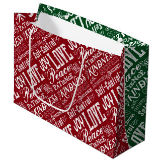 Christmas Love Joy Fruit of the Spirit Typography Large Gift Bag