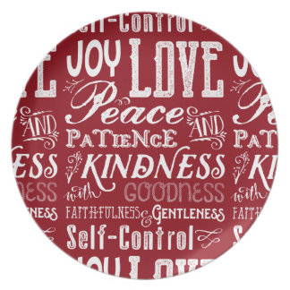 Christmas Love Joy Fruit of the Spirit Typography Plate