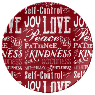 Christmas Love Joy Fruit of the Spirit Typography Porcelain Plate
