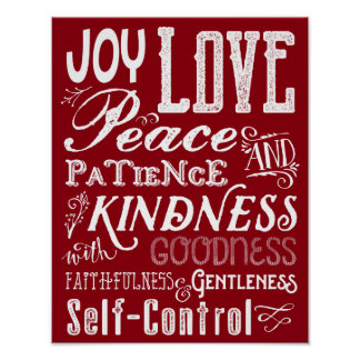 Christmas Love Joy Fruit of the Spirit Typography Poster