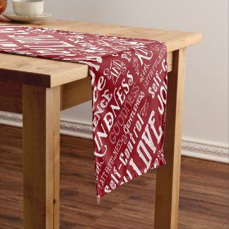 Christmas Love Joy Fruit of the Spirit Typography Short Table Runner