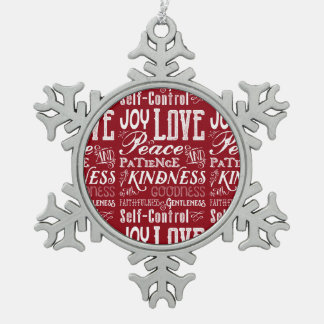 Christmas Love Joy Fruit of the Spirit Typography Snowflake Pewter Christmas Ornament