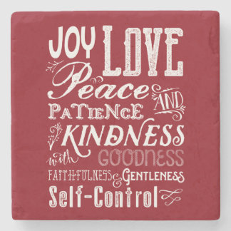Christmas Love Joy Fruit of the Spirit Typography Stone Coaster