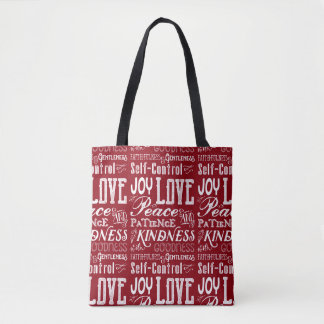 Christmas Love Joy Fruit of the Spirit Typography Tote Bag