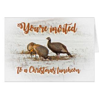 Christmas Lunch Invitation - Wild Turkeys in Snow