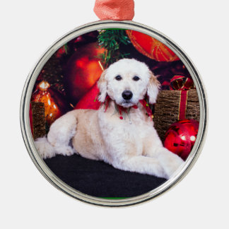 Christmas - Maggie - GoldenDoodle Metal Ornament