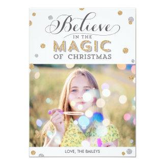 "Christmas Magic Holiday Photo Cards - White 5"" X 7"" Invitation Card"