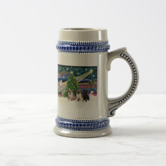 Christmas Magic / Pugs (three, 2+1Blk) Beer Stein