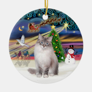 Christmas Magic - Ragdoll Cat (Lynx Colorpiont) Ceramic Ornament